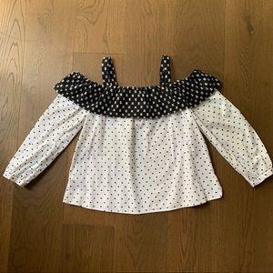 Ann Taylor Loft black & White Polka Dot Ruffle Top